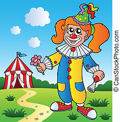 Clown theme picture 3 - vector illustration.