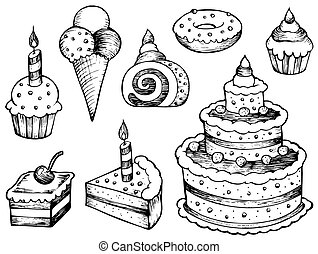 Cakes drawings collection - vector illustration