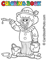 Coloring book with cheerful clown 2 - vector illustration