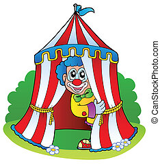 Cartoon clown in circus tent - vector illustration.
