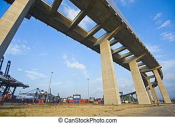 Under the bridge. Urban scene