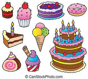 Various cakes collection 1 - vector illustration.
