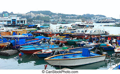 Fishing and house boats anchored in Cheung Chau harbour....