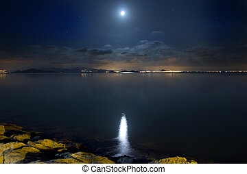 Night Scene beautiful sea and clouds illuminated by the moon