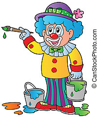Cartoon clown artist - vector illustration