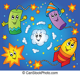Cartoon fireworks theme 1 - vector illustration.