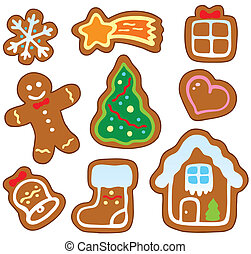 Christmas gingerbread collection 1 - vector illustration.