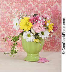 Bouquet of flowers in the green vase - Bouquet of white,...