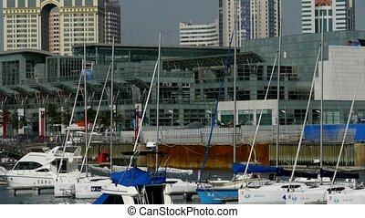 Yacht on water at Pier of QingDao city Olympic Sailing...