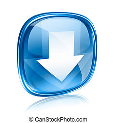 Download icon blue glass, isolated on white background.