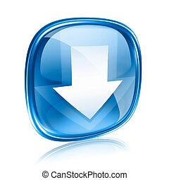 青, 隔離された, 背景, ガラス, ダウンロード, 白, アイコン