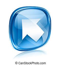 青, 背景, 矢, 隔離された, ガラス, 白, アイコン