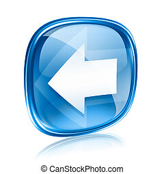 Arrow left icon blue glass, isolated on white background.