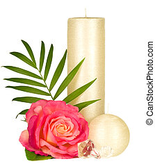 candle and rose - Romantic still-life with white candle and...