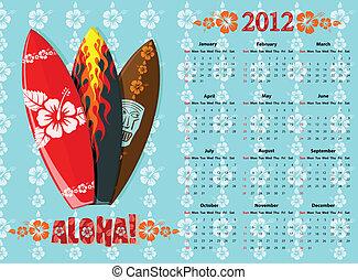 Vector blue Aloha calendar 2012 with surf boards