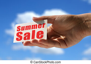 summer sale - business card with summer sale inscription
