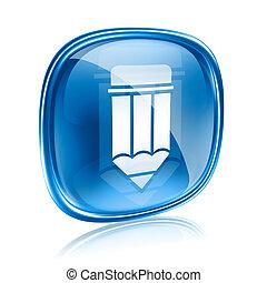 青, 鉛筆, 背景, 隔離された, ガラス, 白, アイコン