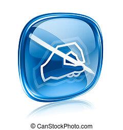 青, 隔離された, 背景, ガラス, 白, 電子メール, アイコン