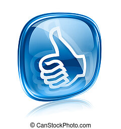 thumb up icon blue glass, approval Hand Gesture, isolated on...