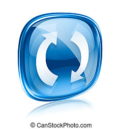 refresh icon blue glass, isolated on white background