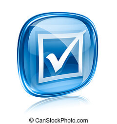 check icon blue glass, isolated on white background.