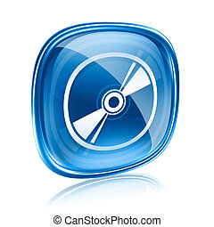 Laser disc icon blue glass, isolated on white background