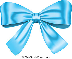 Blue gift bow isolated on white. Ribbon. Vector illustration