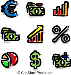 Web icons colour contour economy