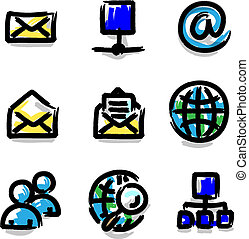 Web icons colour contour internet