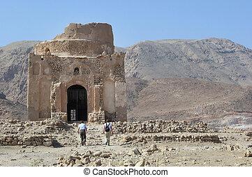 Bibi Miriam's Tomb, Oman with the eastern Hajar mountains in...