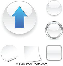 Upload  icon. - Upload white icon. Vector illustration.