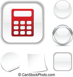Calculate icon. - Calculate white icon. Vector illustration....