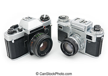 film cameras - Two Classic film cameras isolated on white...