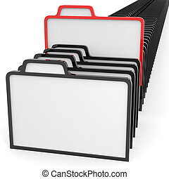 Row of folders sign. Information searching concept.
