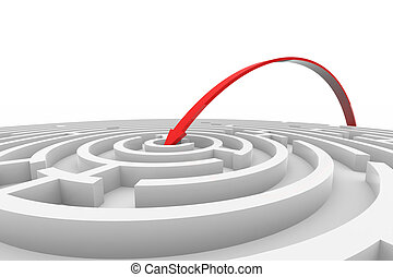 Arrow jumps to the center of the white maze. Concept of success. Computer generated image.