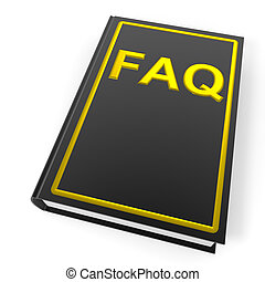 Black book with golden word FAQ.