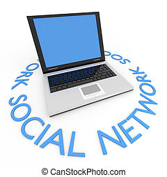 Laptop. Business or social network concept.