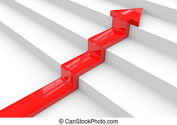 Red arrow on stair. Concept of success.