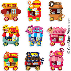Cartoon market store car icon collection