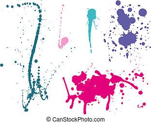 Ink splashes Color. Vector illustration