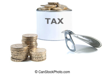 Tax - Conceptual image consisting of a tin can filled with...