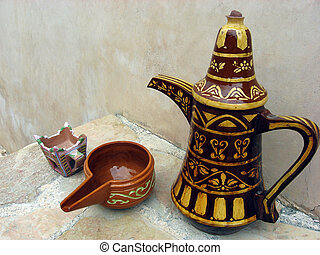 Finjan and Cup in Al Hazm Fort in O - A finjan for making...
