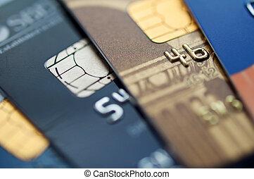 Credit card -  credit cards, selective focus. closeup.