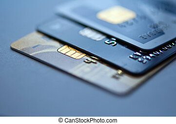 Credit cards - credit cards on a blue background, selective...