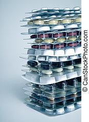 pills - pile of pills in blister packs