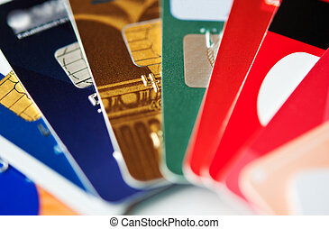 credit cards - stack colorful plastic credit cards, closeup,...