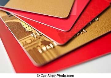 giftcards and credit cards - stack plastic credit cards and...