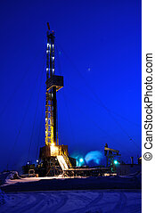 Drilling Rig at Night Oil fields in Western Siberia