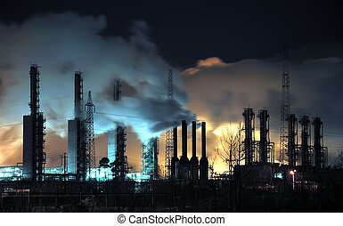 Grangemouth Refinery at Night - A brightly lit industrial...