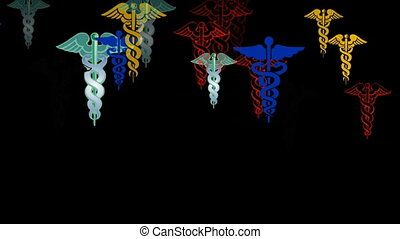 animation of caduceus,the symbol of medicine
